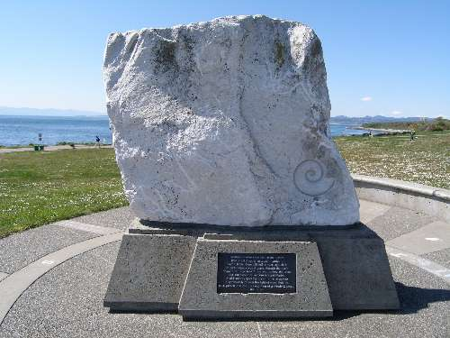 Backside of the sculpture at Clover Point in Victoria